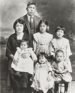 Shingoro Takasugi Family. Top: Shingoro. Middle: Yasuye (holding Shika), Kaneko and Hisaye. Bottom: Midori and Nao (later an Oxnard Councilman and Mayor, and in 1992 State Assemblyman).Shingoro Takasugi