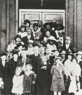 Rally at St. Paul Baptist Church, Oxnard : Sunday, March 23, 1919 ; Reverend J. D. Pettigrew, front row center; Reverend William Miedema, immediately behind him to the left.