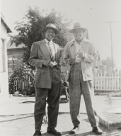 Bedford and Forrest Pinkard at home, 405 East Second St., Oxnard : 1947 ; Bedford Pinkard later became the first African-American elected official in the tri-counties with his election to Oxnard Union High School District Board in 1973.