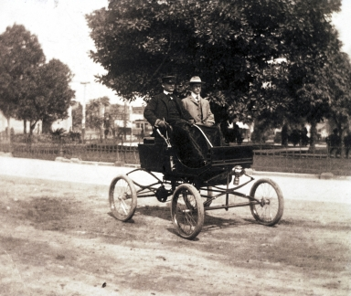 G. Allan Hancock driving his 1900 Milwaukee Steam Runabout