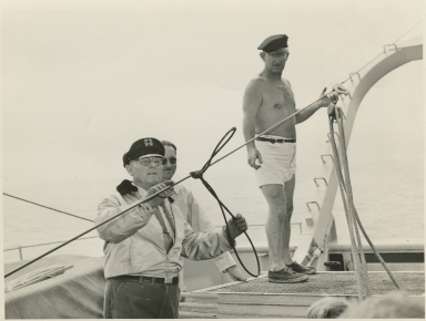 Allan Hancock tying rigging aboard the Velero IV
