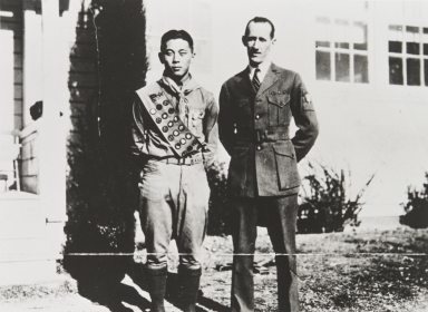 Paul Kurokawa, Eagle Scout with Scout Leader, Mr. Wilcox : 1931.