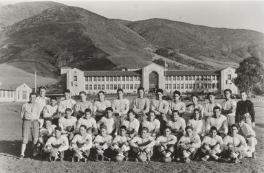 San Luis Obispo High School Football Team. Paul Kurokawa 3rd upper right. Coach Frank Holt left : 1931.
