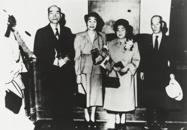 After becoming citizens of the United States. L-R: Mr. Tameji Eto, Mrs. Take Eto, Mrs. Toyo Hayashi.