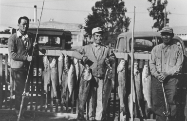 Stripe bass fishing in front of Harold Shimizu home, Guadalupe : 1935. Harold Himizu, Charlie Maenaga and Yataka Makanolf.
