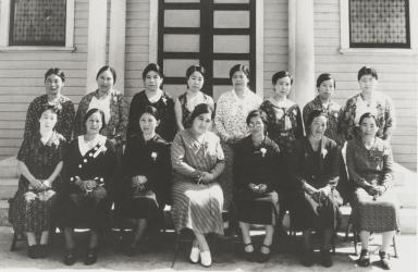 Oxnard Buddhist Church Women's Board of Directors : 1934. Back L-R: Mrs. N. Sakamoto, Mrs. A. Mine, Mrs. M. Moriwaki, Mrs. I. Taketa. Mrs. Suzuki, Mrs. Kurihara, Mrs. Otsuki, Mrs. S. Kanda. Front: Mrs. Kawamoto, Mrs. Kodani, Mrs. Y. Shiozaki, Mrs. Masanaga, Mrs. M. Kanamori, Mrs. Hashimoto, Mrs. Fujimoto.