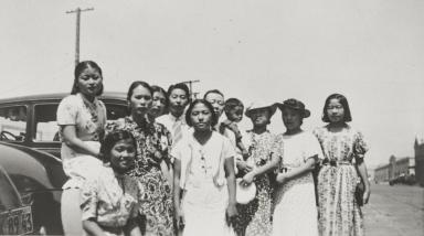 Oxnard people seeing someone off to Japan, San Pedro : 1938. Back L-R: Hisar Kanda, Mrs. Iwamoto, Mitsui Kanda, Tadao Kanda, Mr. Kanda. Front L-R: Vashiko Inouye, Masama Moriwaki, Ray, Mrs. Fuikawa, Mrs. Ohara, Masako Moriwaki.