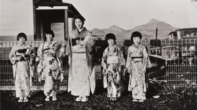 Japanese School on the Eto Farm : Los Osos about 1930 ; Alice Eto teaching girls Japanese dancing.