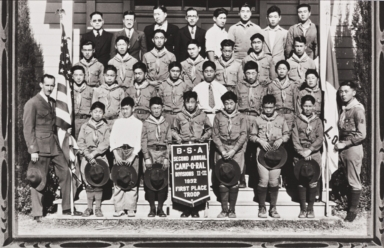 First place Boy Scouts of America Troop at 2nd Annual Camp-O-Ral : 1932 ; Eagle Scout Paul Kurokawa organized the troop ; pictured at San Luis Obispo Buddhist Church.