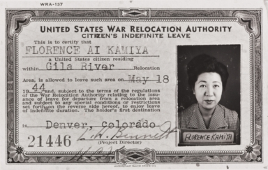 United States War Relocation Authority I.D. Card of Florence Ai (Iwami) Kamiya ; Gila Relocation Center Camp 2 : May 18, 1944.