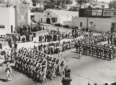 Port Hueneme Seabees at Bond Rally Drive in downtown Ventura : September 1943.