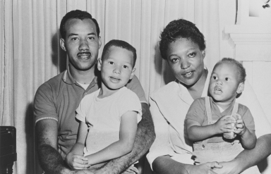 Clifton Tatum Family, Oxnard : February 1957 ; Clifton was superintendent at juvenile hall, Ventura, later renamed the Clifton Tatum Center. His wife, Frances, was the first black dietician in Ventura County. Son, Clifton, Jr. (on left), a parole officer of California Youth Authority, Camarillo. Son, Lucius G. Tatum (right) ran a video and film production company in Camarillo.
