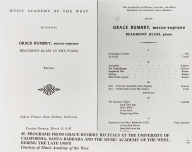 Programs from Grace Bumbry recitals at the University of California, Santa Barbara and the Music Academy of the West, during the late 1950s.