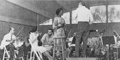"""Grace Bumbry, soloist with the Ojai Festival Symphony Orchestra, Aaron Copland conducting: 1960s ; Miss Bumbry has enjoyed a sensational career on the European continent where she has been guest artist with all of the leading opera companies. In 1961, she sang the role of Venus in """"Tannhauser"""" at the Bayreuth Festival and returned yearly to Bayreuth as a guest artist. Miss Bumbry made her New York debut in Carnegie Hall in the fall of 1962 and was well received by the public and the press. Following two concert tours of the United States with guest appearances with the Chicago Lyric Opera Company the critical reviews placed her as one of the great artists of our time."""