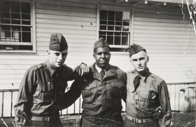 Leroy Gatewood, center, at Fort Ord as integration was instituted in 1948.