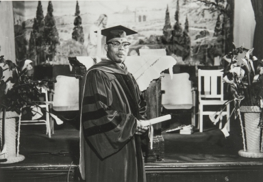 Reverend John Cullors, founder of the Coast Counties Baptist Bible Institute, Second Baptist Church, Paso Robles : February 14, 1960.