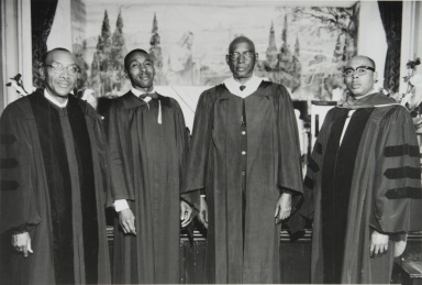 The Coast Counties Baptist Bible Institute Ceremony : Reverend G. E. Ellis, D. D., Reverend C. Parish, Reverend P. Modonna and Reverend J. Cullors were among those attending the ceremony at the Second Baptist Church, Paso Robles : 1959.