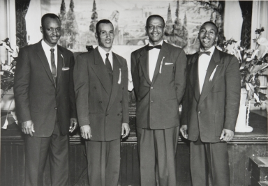 Associated ministers, Second Baptist Church, Paso Robles : 1959 ; In this group are Reverend L. C. Blackburn, Reverend Vern Haynes, Reverend Henry Edwards, and Reverend Cecil Parish.