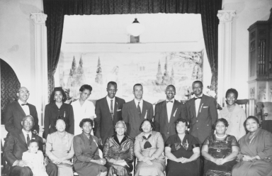 Associated ministers and their wives and lay ministers, all participated in a special ceremony of the Coast Counties Baptist Bible Institute, Second Baptist Church, Paso Robles in 1959.