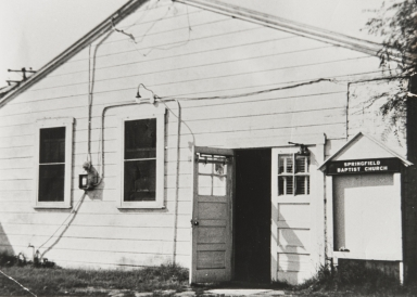 The first building of Springfield Baptist Church of San Luis Obispo on Brook Street : 1947.