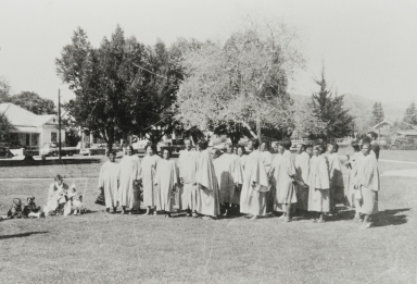 San Luis Obispo Springfield Baptist Church Choir singing downtown on April 4, 1968, the day of Martin Luther King's assassination.