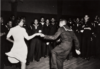 Dance for African American enlisted personnel at Camp Rousseau Seabee Camp at Port Hueneme : September 1943 ; at this time the dances were segregated.