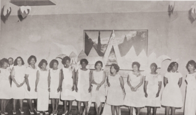 Members of Twentieth Century Onyx Club at the first Cotton Ball : 1964 ; the Cotton Ball was for young ladies in the 9th and 10th grades ; L to R: Mary Jordan, Mildred Morrison, Marguerite Milton, Margaret Tatum, Olga Camper, Lona Fountain, Elsie Kelley, Geraldine Mantooth, Gwendolyn E. Hunt, Thelma Calhoun, Ruth Gibson, Mattie Adams and Martha White.