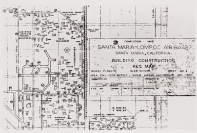 """Santa Maria, Lompoc Air Base building construction key map showing areas reserved for """"colored"""" troops : January 1943."""