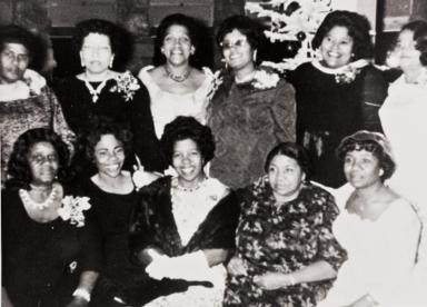 Ladies of San Luis Obispo Springfield Baptist Church at a Christmas party : 1970.