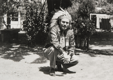 "Adrian (""Dutch"") Pierce, son of María Antonia Baylon Pierce, at his home in Morro Bay prior to participating in a California Indian Council Meeting : 1945."