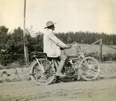 Peter Riedel Riding His Motorcycle