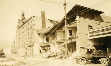 Santa Barbara 1925 Earthquake Damage - Fithian Building (Lower clock bldg)