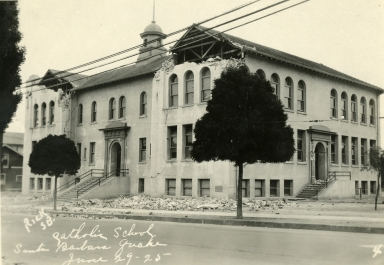Santa Barbara 1925 Earthquake Damage - Catholic School
