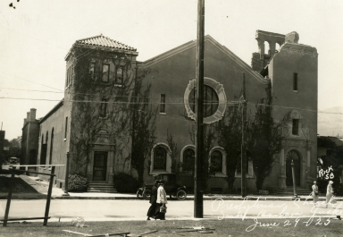 Santa Barbara 1925 Earthquake Damage - Presbyterian Church