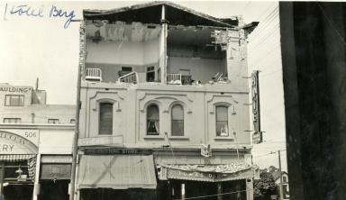 Santa Barbara 1925 Earthquake Damage - Hotel Berg & Lomas Drug Co.
