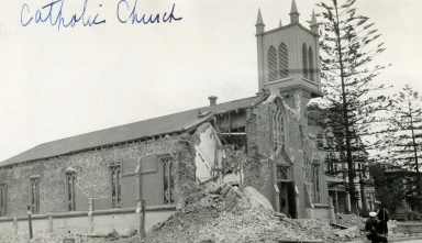 Santa Barbara 1925 Earthquake Damage - Our Lady of Sorrows Church