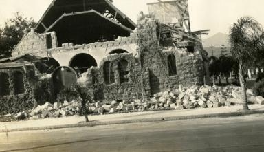 Santa Barbara 1925 Earthquake Damage - Unitarian Church