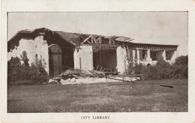 Santa Barbara 1925 Earthquake damage - City Library