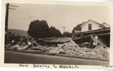 Santa Barbara 1925 Earthquake damage - Store at De La Vina and Montecito Streets