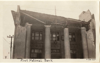 Santa Barbara 1925 Earthquake damage - First National Bank