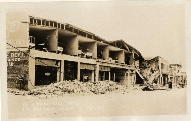 Santa Barbara 1925 Earthquake damage - El Camino Real Hotel