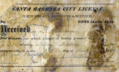 Santa Barbara City License, August 12, 1880
