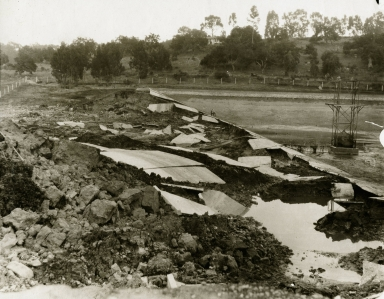 Santa Barbara 1925 Earthquake damage - Sheffield Reservoir
