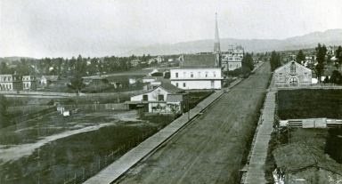Panoramic of State St., looking northwest