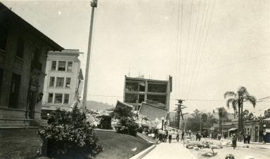 Santa Barbara Earthquake Damage - 00 Block Anapamu Street
