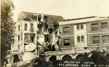 Santa Barbara 1925 Earthquake Damage - Arlington Hotel