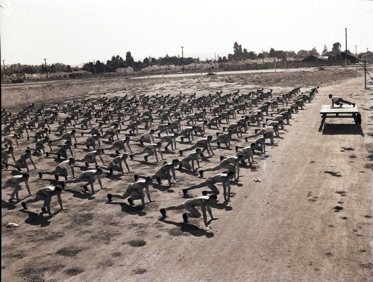 Physical training at Hancock Field