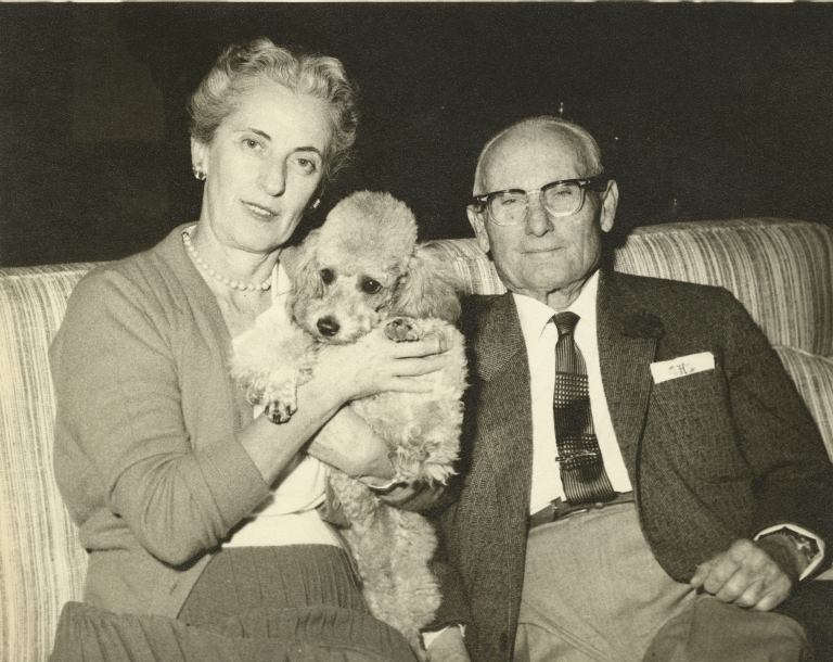 Allan Hancock and Marian Mullin Hancock, with dog