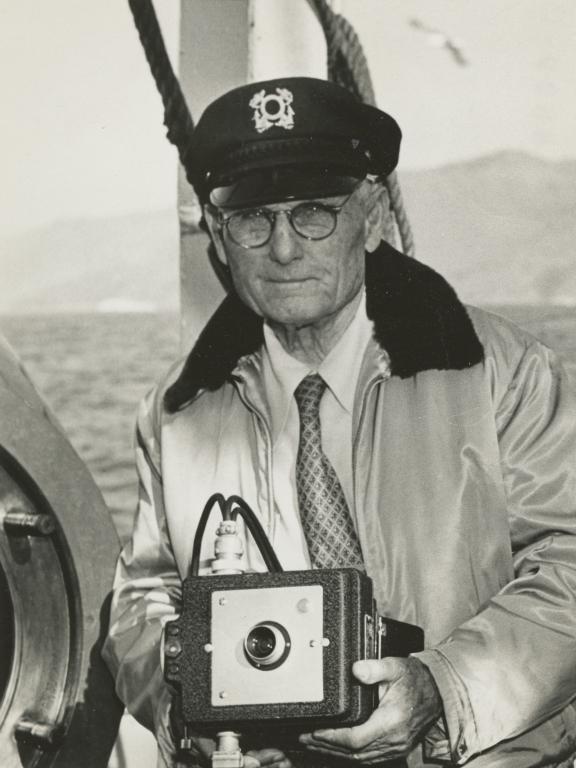 G. Allan Hancock, with benthograph camera