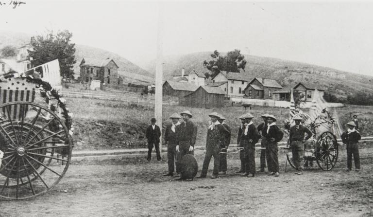 Chinese Fire Company, Ventura Parade : July 4, 1874.